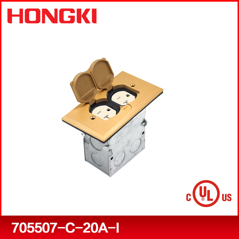 Brass recessed floor box with receptacle and junction box, ul listed floor socket