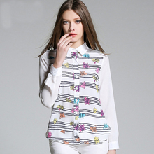 Free Shipping european style cartoon printed shirt wholesale stand collar chiffon women White blouses S-2XL
