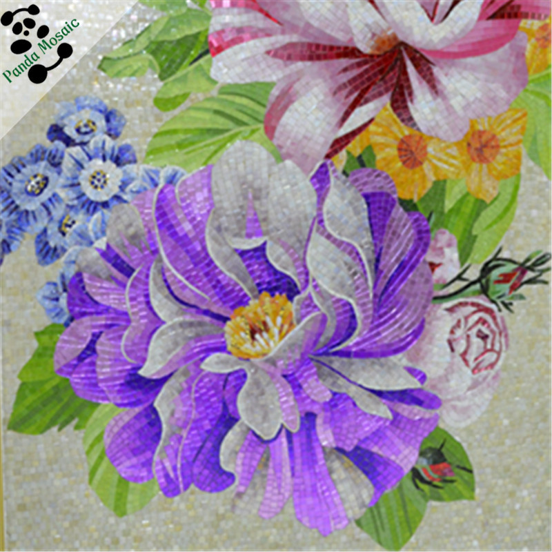 MB SMM17 premium handmade tile glass mosaic art decor chinese flower wall murals mosaic tile picture