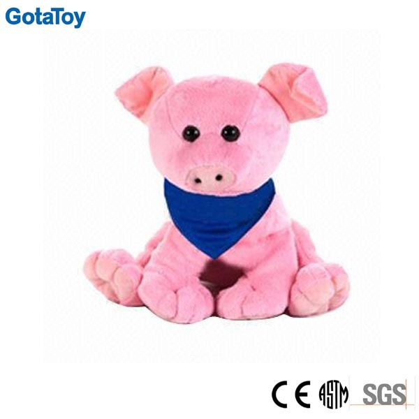 Custom plush soft pink pig with blue scarf