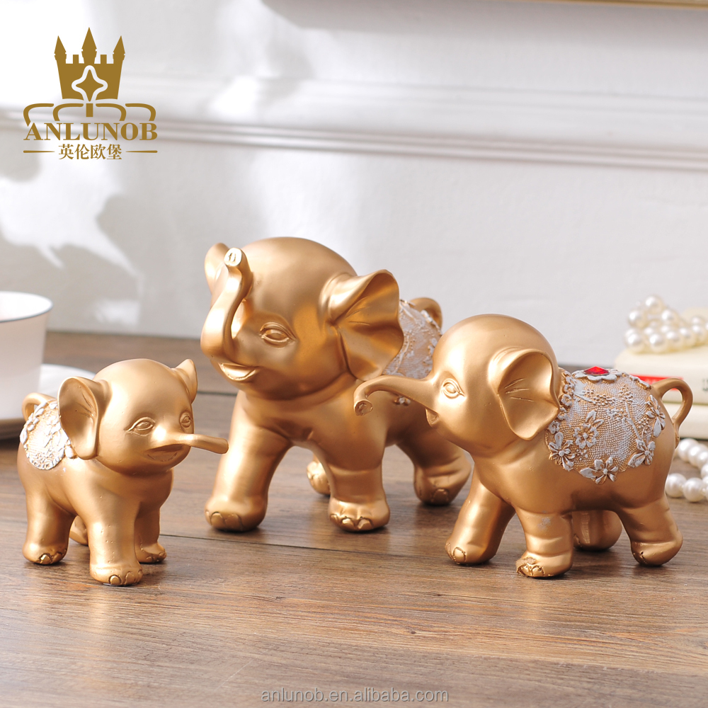 Gold Animal Royal Art Painted Epoxy Resin 3-Set Elephant Statue Wholesale resin decorative statue
