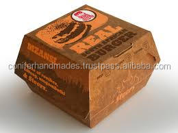custom made paper packaging for burger for fast food chains, burger shops, food shops