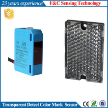 Transparent Film Or Glass Bottle Detection, YS3F-T100N Series photo Sensor, With a Reflector Type.