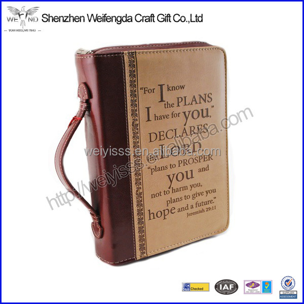 Handmade PU Leather Deluxe Zippper Bible Cover With Handle
