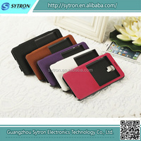 Wholesales 5.5 inch mobile phone leather case with stand function and with window