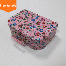 Custom print cardboard paper handle foldable packaging mini suitcase gift box