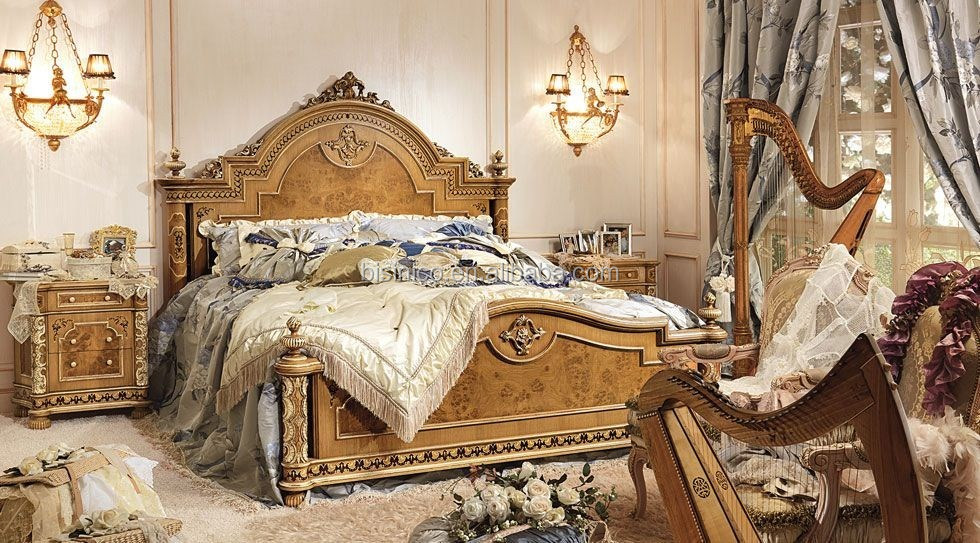 Bisini French Louis Hand Carving Wooden Inlay Bedroom Set/Classic French Style Bedroom Furniture (MOQ=1 SET)