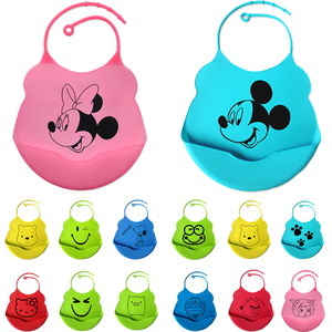 Promotional Cheap Easily Wipes Clean Cartoon Toddlers Waterproof Silicone Baby Bib