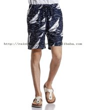 navy printing road like elastic waist shorts for men