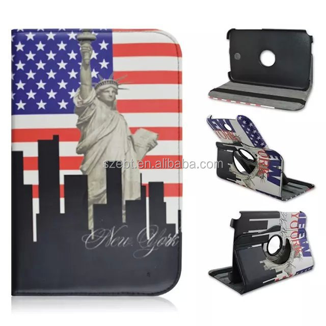 US&UK flag, the Statue of Liberty printing case, 360 degree rotation stand case for Samsung galaxy Note 8 N5100