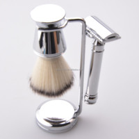 high quality shaving gift set delux chrome shaving brush set with badger hair