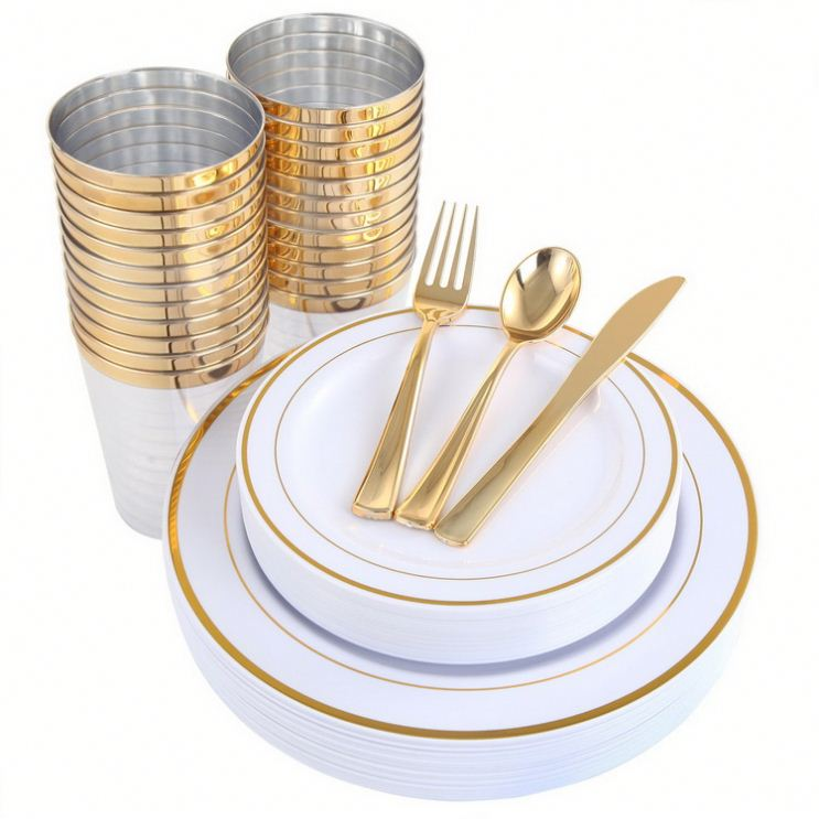 Gold Plastic <strong>Plates</strong> &amp; Plastic Silverware &amp; Gold Cups 150 Piece, Premium Disposable Dinnerware Set Includes