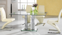 I shaped glass dining table,modern dining room table