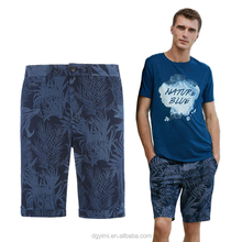Summer Men Short Pants Fashion Floral Printed Drawstring Casual Knee Length Trousers Beach Pant