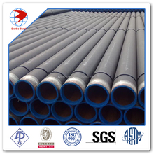 API 5L grade X52 OD 4inch WT 7.9 mm ERW DRL BE 3PP and internal coating novolac epoxy pipe line