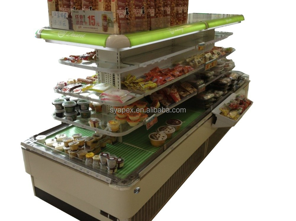 APEX commercial rounding island multi-layer ventilated air cooling showcase supermarket refrigeration equipment