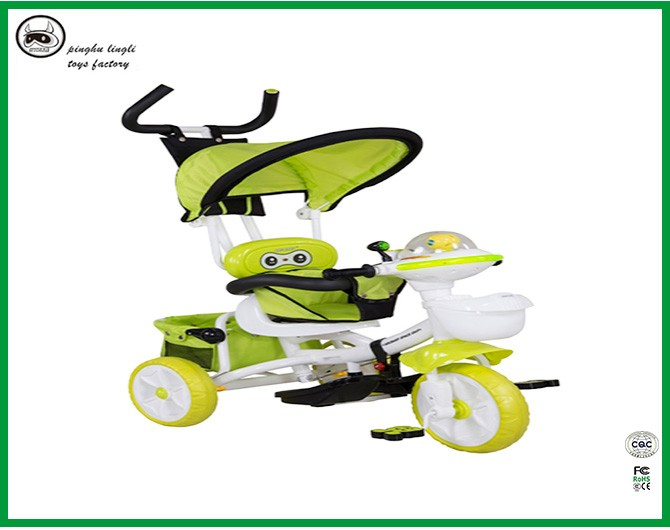 Model LL1288 baby tricycles with one seat, plastic animal head music design tricycle with feet treadle for kids
