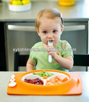 3 compartment children dinner use biodegradable plastic plate with fork and spoon