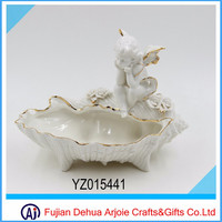 Porcelain Angel Statue WIth Golden Edge
