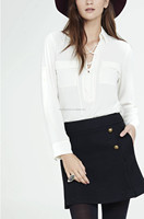 European modern styles of blouses lace up long sleeve design modern shirttail hem blouses