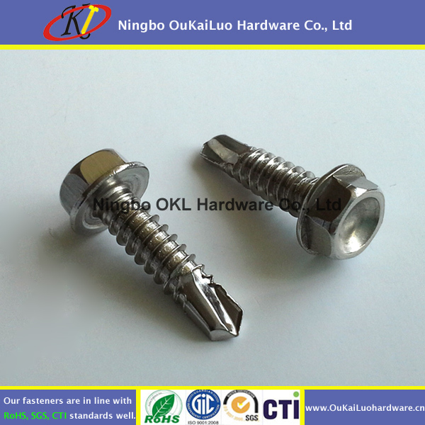 Tek Screw #10 Hex Washer Head Self Drilling Screw with reduced teck point