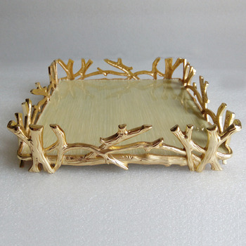 Gold Plating Branch Design Square Metal Napkin Holder