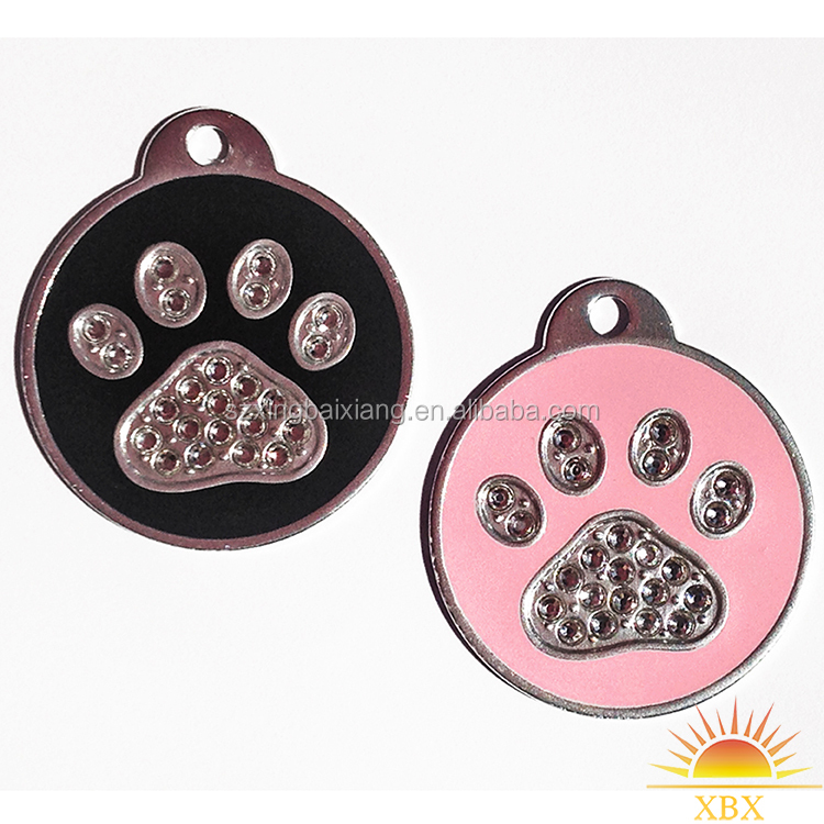 custom creative glitter paw metal round dog tag