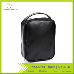 Handle Black Leather Toiletry Kits Portable Cosmetic Bag Personalized
