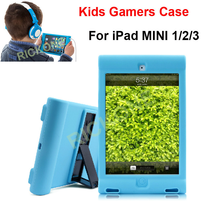 Rubber Silicone Case For iPad Mini 1/2/3 Retina Kids Safe Shockproof Cover w/Kickstand