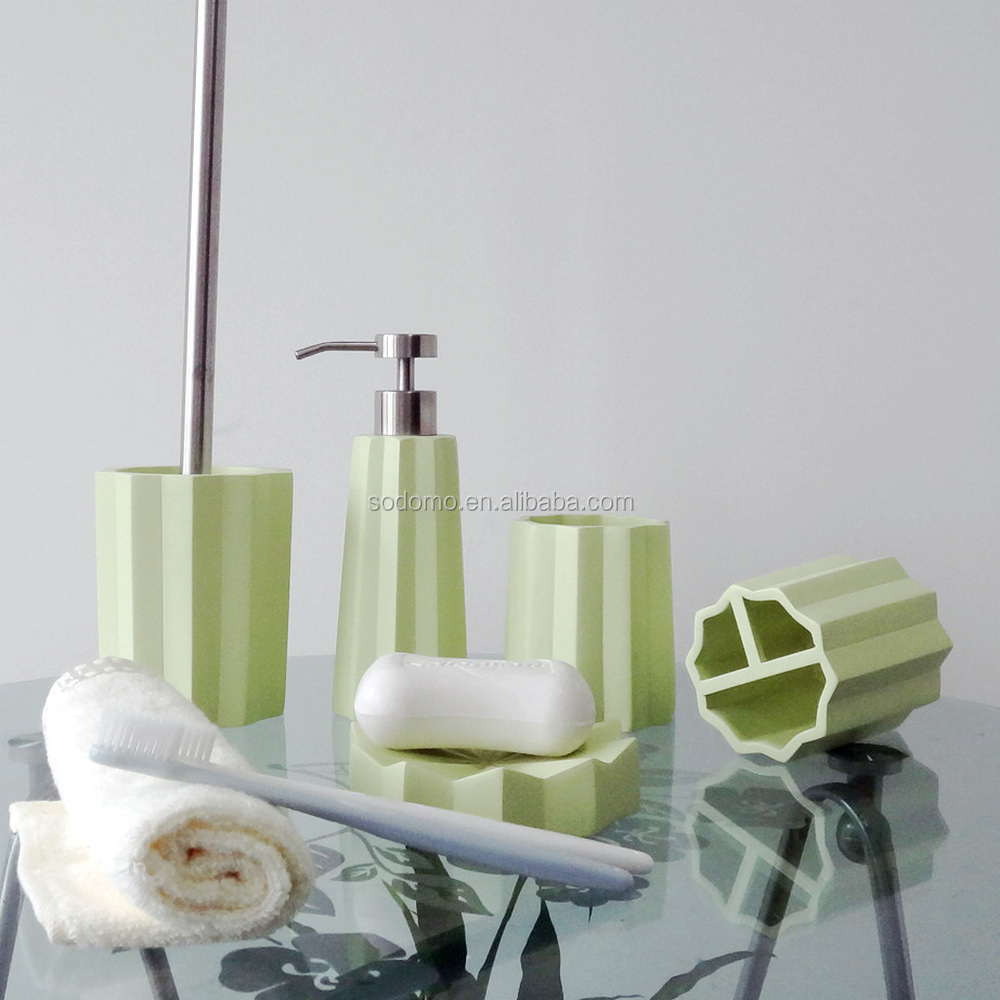 Sodomo household table set bathroom accessories green printed polyresin and sandstone material