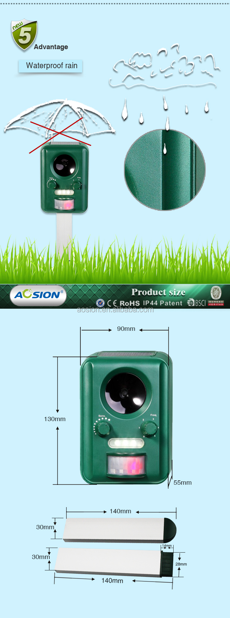 Aosion patent designed solar ultrasonic animal bird repeller pest control product for deer dog cat racoon bird