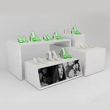 Wooden Shoe Display Table For Retail Shoes Store Display