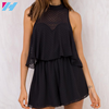 YIHAO Solid black stand collar casual women chiffon dress O neck mini backless A line fashion Ladies summer dress