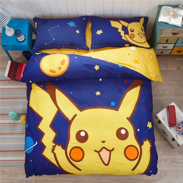 Luury Pokemon 4Pcs 100% Cotton Child Cartoon Pattern Bedding Sets Include Duvet Cover Bed Sheet Pillowcase Set Full Queen Size