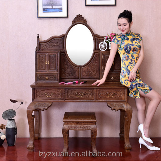 Precious Mahogany Made Furniture Wall Mounted Handmade Girls Dressing Table With Mirror