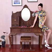 Precious Mahogany Made Furniture Wall Mounted Handmade Ikea Girls Dressing Table With Mirror