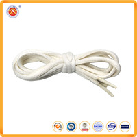 High quality cheap flat cotton shoelaces white color for sport shoes or running shoes