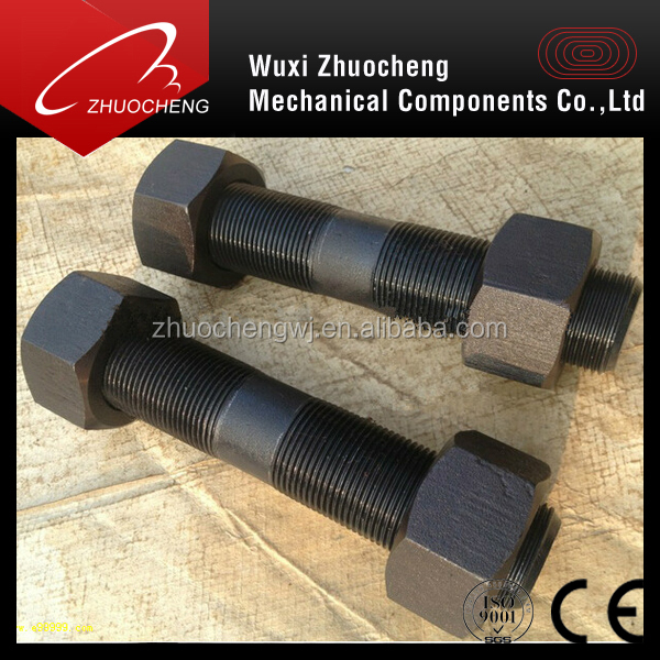 heavy black ptfe a193 b7 double head bolts and 2h nuts
