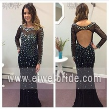 Sexy black beaded scoop neck open back mermiad long sleeve prom dress