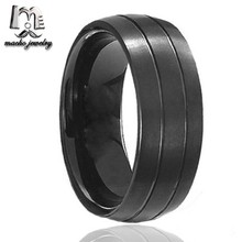 Custom Design black plate tungsten jewellery with dual brushed stripes Low Cost