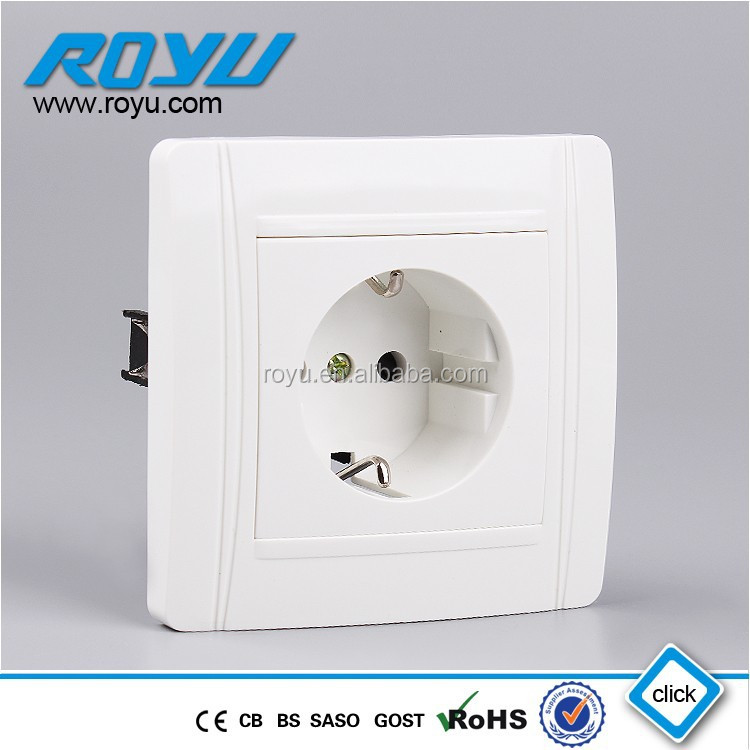 CB approved PC material Schuko Grounding European type 16A high quality electric outlet socket
