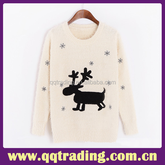 2015 women christmas sweater ugly pullover knitting print women ugly christmas sweater