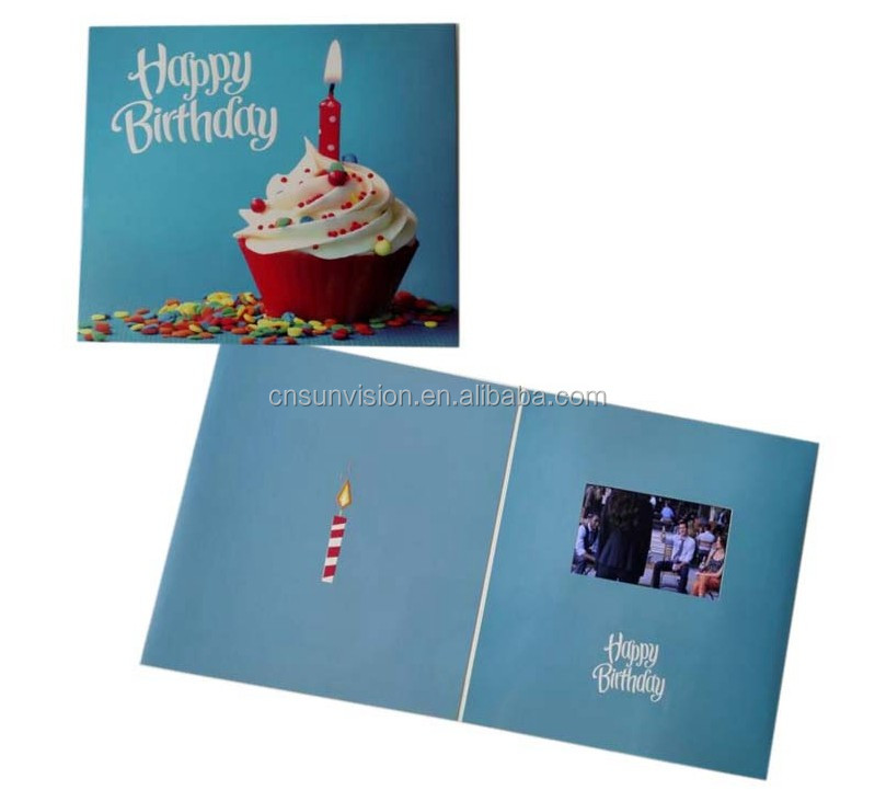 "handmade luxury 5"" TFT screen LCD display video happy birthday card party invitation cards"