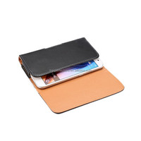Smooth grain leather belt clip flip wallet case for iPhone 5