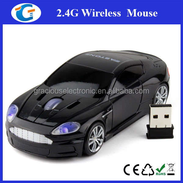 optical race car computer mouse with blue headlight