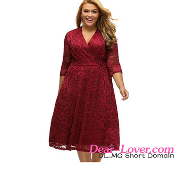 Fashion 2017 Fat Ladies Burgundy Plus Size Surplice Lace Sexy Plus Size Dresses