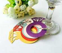 BZ-5 Diamond Decoration Simple and Beautiful Laser Cut Round Glass Name Card on Glass Bottom, Wedding Decoratins