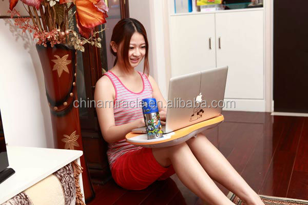 New Version Comfortable Laptop Bed Tray/Laptop Cushion With Cup Holder