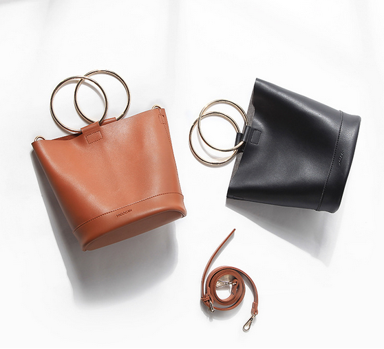 2 Pieces Brand Fashion Women Mini Bucket Bag Metal Ring PU Leather Luxury Tote Famous Designer Korea Ladies Handbag
