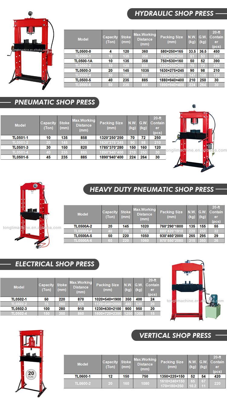 Factory Supply Attractive Price TL0500-0 Hydraulic Shop Press